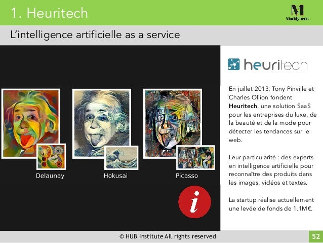 © HUB Institute All rights reserved En juillet 2013, Tony Pinville et Charles Ollion fondent Heuritech, une solution SaaS ...