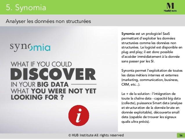 © HUB Institute All rights reserved 56 Synomia est un prologiciel SaaS permettant d'exploiter les données structurées comm...