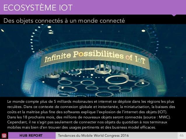 01 Des objets connectés à un monde connecté ECOSYSTÈME IOT !46Tendances du Mobile World Congress 2016HUB REPORT Le monde c...