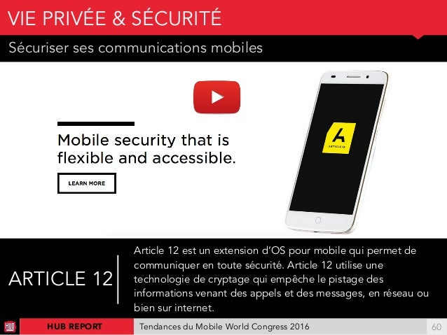 01 Sécuriser ses communications mobiles VIE PRIVÉE & SÉCURITÉ !60HUB REPORT Tendances du Mobile World Congress 2016 ARTICL...