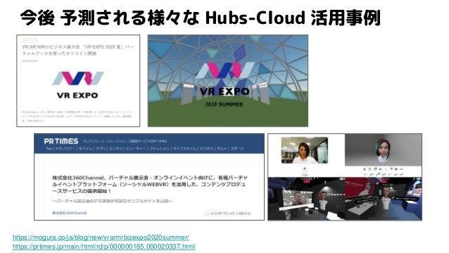 今後 予測される様々な Hubs-Cloud 活用事例 https://mogura.co/ja/blog/new/vrarmrbizexpo2020summer/ https://prtimes.jp/main/html/rd/p/00000...
