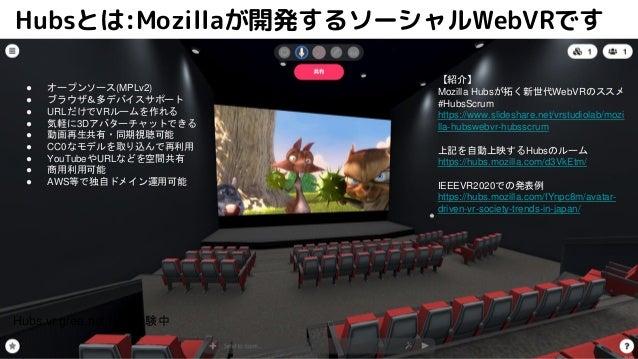 Hubsとは:Mozillaが開発するソーシャルWebVRです ● オープンソース(MPLv2) ● ブラウザ&多デバイスサポート ● URLだけでVRルームを作れる ● 気軽に3Dアバターチャットできる ● 動画再生共有・同期視聴可能 ● C...