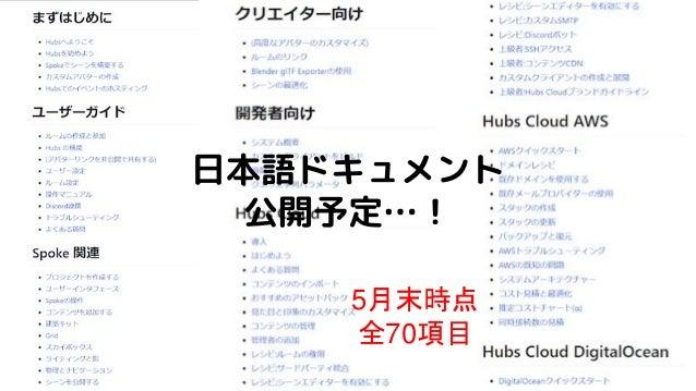 5月末時点 全70項目 日本語ドキュメント 公開予定…!