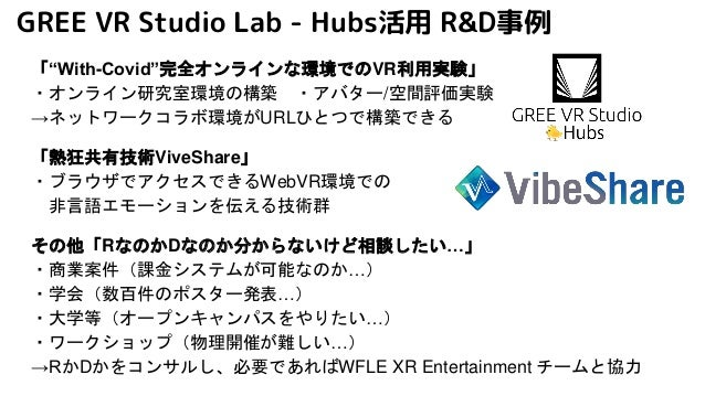 "GREE VR Studio Lab - Hubs活用 R&D事例 「""With-Covid""完全オンラインな環境でのVR利用実験」 ・オンライン研究室環境の構築 ・アバター/空間評価実験 →ネットワークコラボ環境がURLひとつで構築できる 「..."