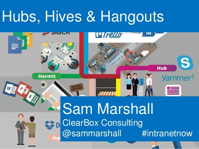 Hubs, Hives & Hangouts Sam Marshall ClearBox Consulting @sammarshall #intranetnow