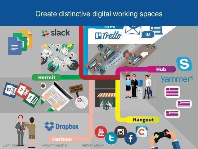 Create distinctive digital working spaces Sam Marshall @sammarshall #intranetnow