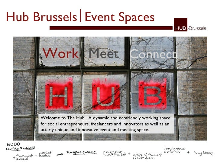 Work Meet Connect Hub Brussels   Event Spaces   Welcome to The Hub.  A dynamic and ecofriendly working space for social en...