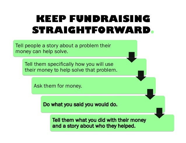 KEEP FUNDRAISING STRAIGHTFORWARD. Tell people a story about a problem their money can help solve. Tell them specifically h...