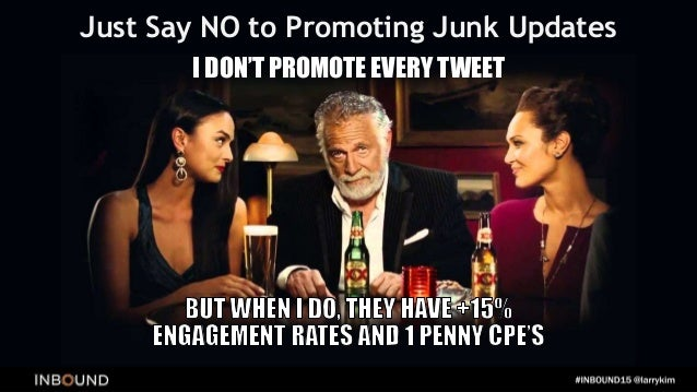 Larry's Organic & Paid Social Network Sharing/Posting Pyramid Scheme 1. Post Lots of stuff (organically) to Twitter 2. Boo...