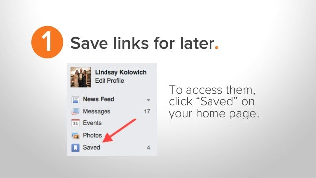 """Save links for later.1 To access them, click """"Saved"""" on your home page."""