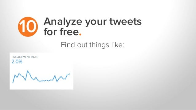 Analyze your tweets for free.10 Find out things like: