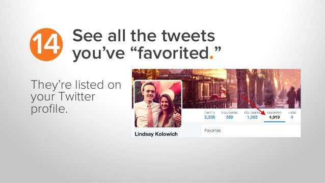 "See all the tweets you've ""favorited.""14 They're listed on your Twitter profile."