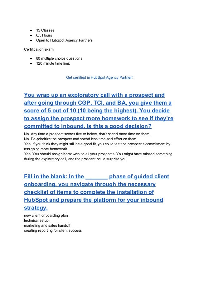 Hubspot agency partner certification exam answers