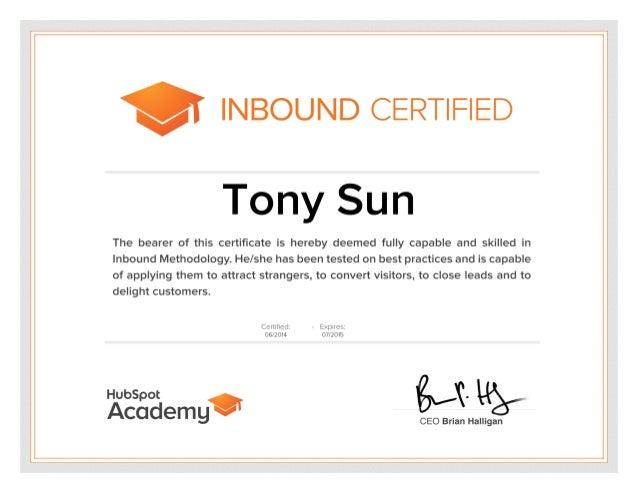 HubSpot Inbound Marketing Certification - Tony Sun