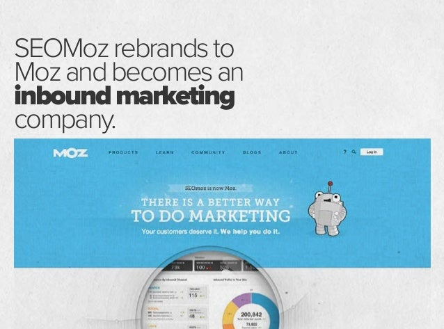 SEOMozrebrandsto Mozandbecomesan inboundmarketing company. Inbound marketing, what is that?
