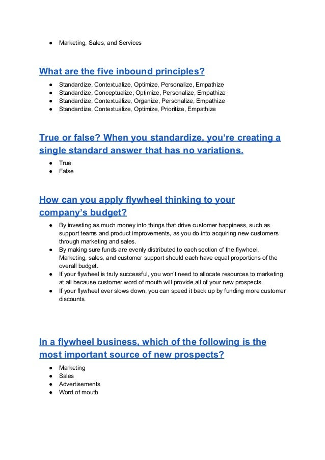 Hubspot Inbound Certification New Answers Pdf Download 2018