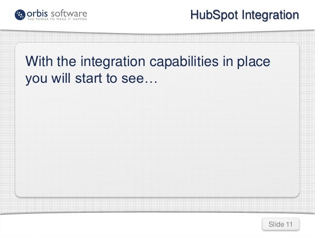 HubSpot Integration  With the integration capabilities in place  you will start to see…  Slide 11