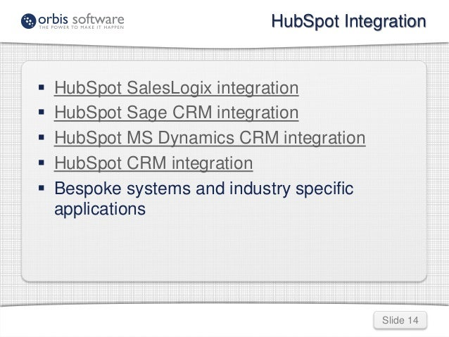 HubSpot Integration  Slide 14   HubSpot SalesLogix integration   HubSpot Sage CRM integration   HubSpot MS Dynamics CRM...