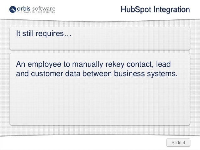 HubSpot Integration  Slide 4  It still requires…  An employee to manually rekey contact, lead  and customer data between b...
