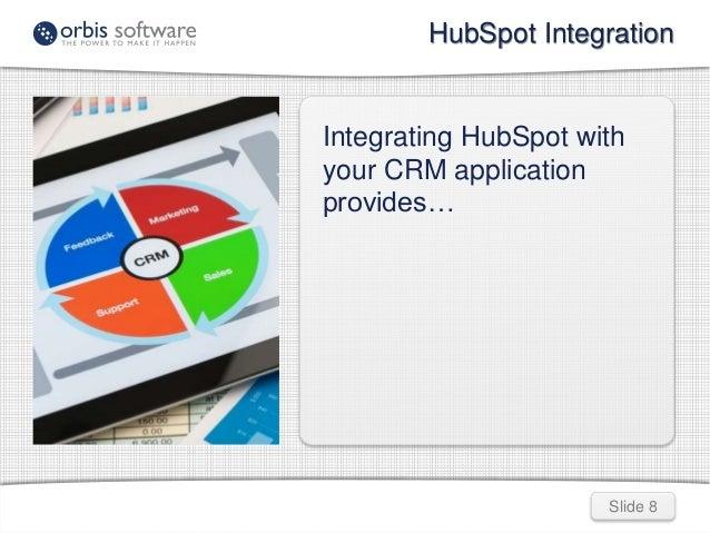 HubSpot Integration  Integrating HubSpot with  your CRM application  provides…  Slide 8
