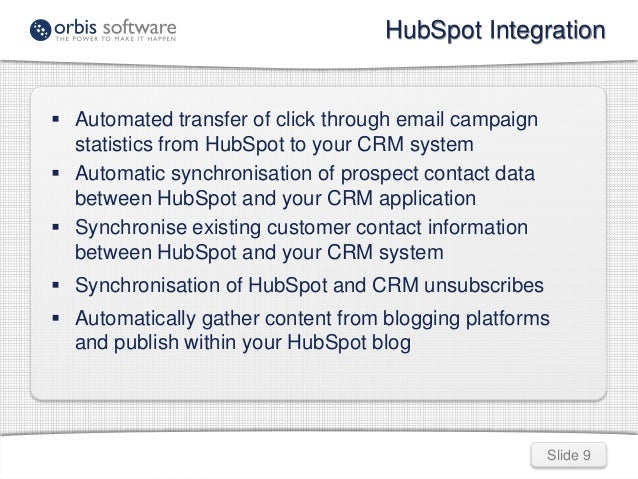 HubSpot Integration  Slide 9   Automated transfer of click through email campaign  statistics from HubSpot to your CRM sy...