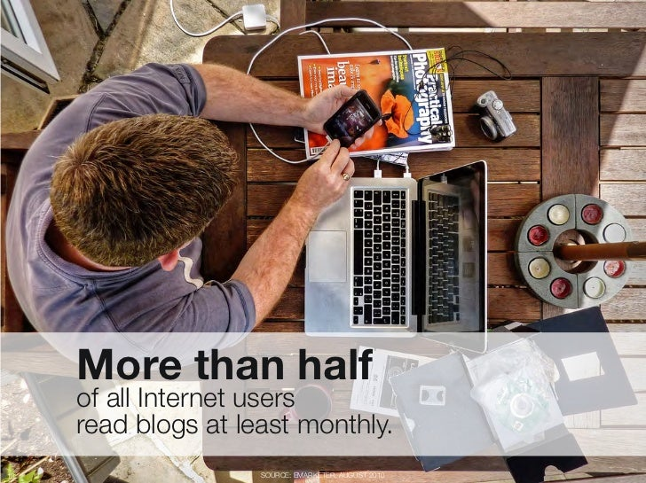 """More than half """"      of all Internet users """"      read blogs at least monthly.13                   SOURCE: EMARKETER, AUG..."""