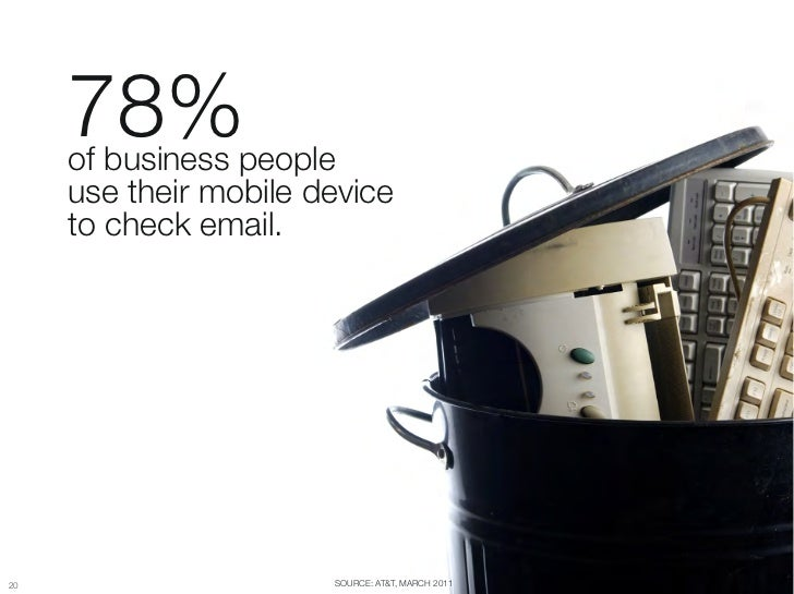 "78%       of business people ""      use their mobile device ""      to check email.2020                      SOURCE: AT&T, ..."