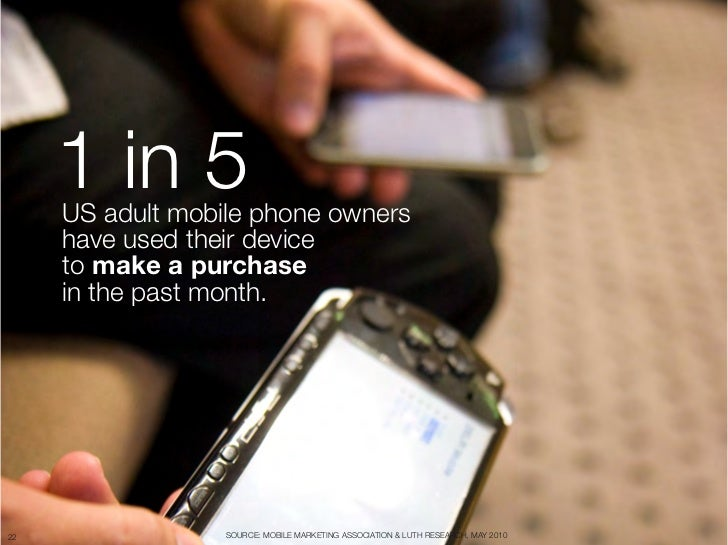 "1 in 5      US adult mobile phone owners ""      have used their device      to make a purchase ""      in the past month.22..."