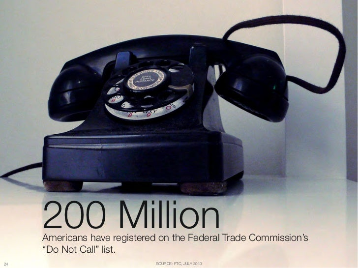 "200 Million      Americans have registered on the Federal Trade Commission's ""      ""Do Not Call"" list.24                 ..."
