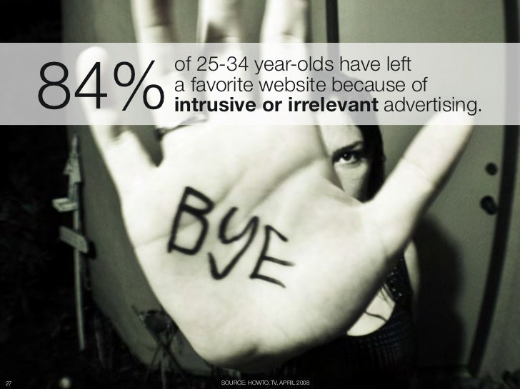 "84%         of 25-34 year-olds have left ""         a favorite website because of ""         intrusive or irrelevant adverti..."