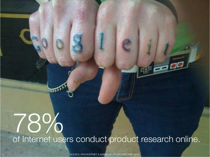 """78% """"     of Internet users conduct product research online.5                  SOURCE: PEW INTERNET & AMERICAN LIFE PROJEC..."""