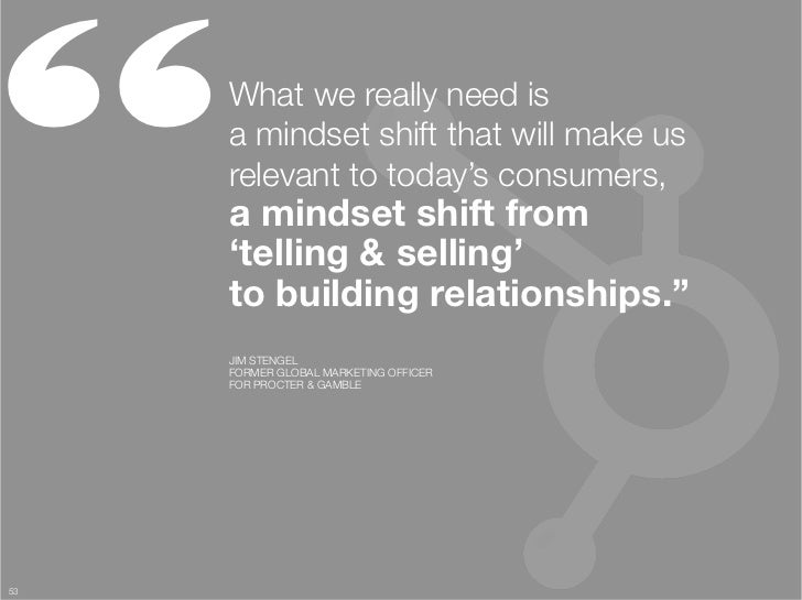 """     What we really need is ""      a mindset shift that will make us      relevant to today's consumers, ""      a mindset..."