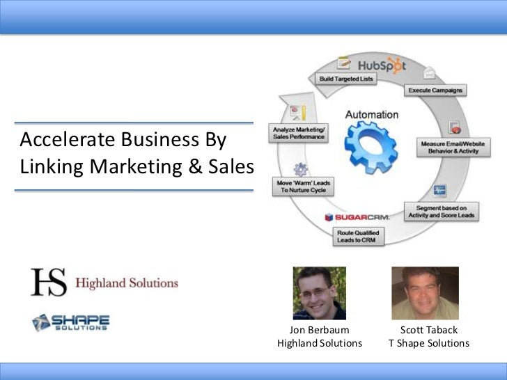 Accelerate Business By Linking Marketing & Sales<br />Scott Taback<br />T Shape Solutions<br />Jon Berbaum<br />Highland S...