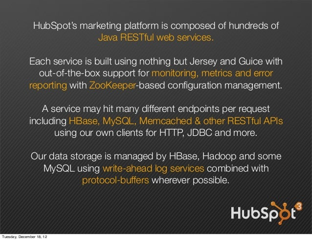 HubSpot's marketing platform is composed of hundreds of                             Java RESTful web services.            ...