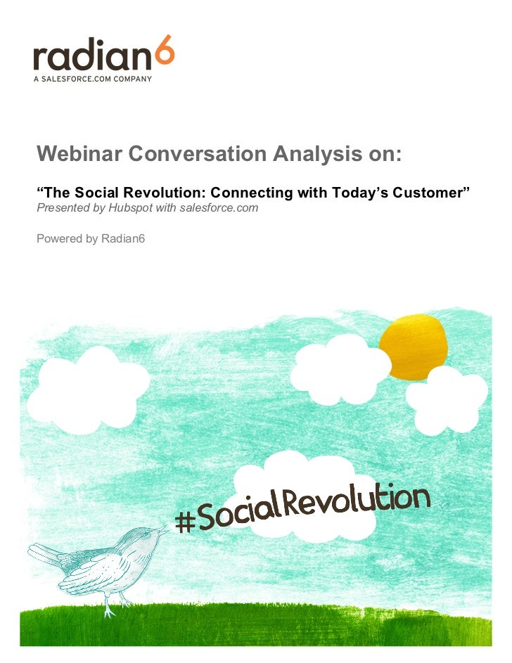 """Webinar Conversation Analysis on:""""The Social Revolution: Connecting with Today's Customer""""Presented by Hubspot with salesf..."""