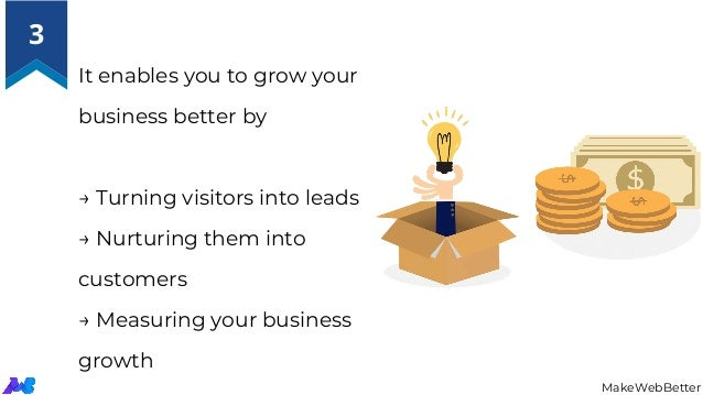 It enables you to grow your business better by → Turning visitors into leads → Nurturing them into customers → Measur...