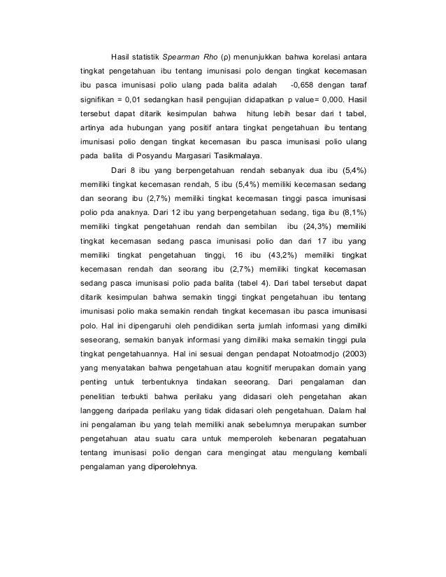 Hasil statistik Spearman Rho (ρ) menunjukkan bahwa korelasi antara tingkat pengetahuan ibu tentang imunisasi polo dengan t...