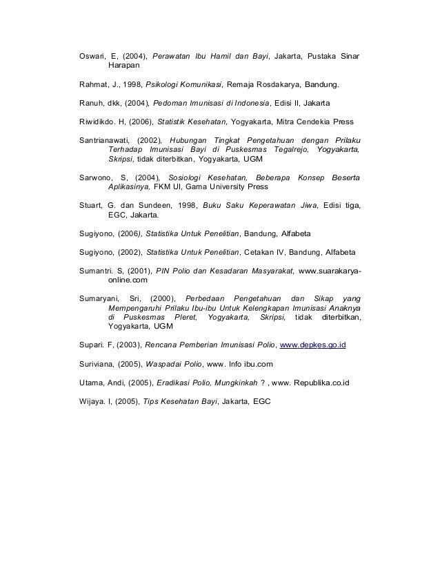 Oswari, E, (2004), Perawatan Ibu Hamil dan Bayi, Jakarta, Pustaka Sinar Harapan Rahmat, J., 1998, Psikologi Komunikasi, Re...