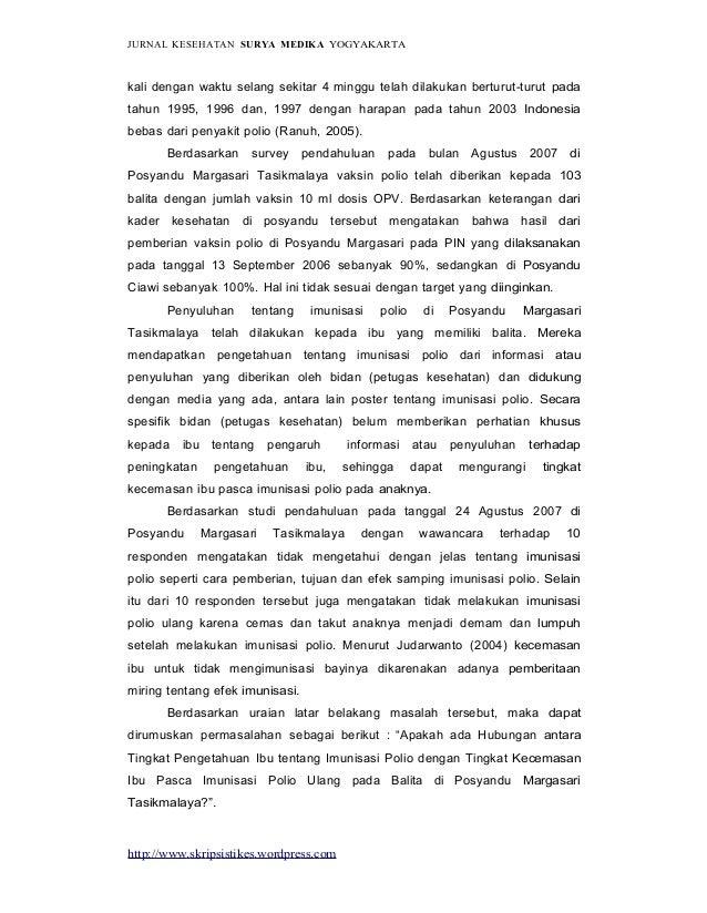 http://www.skripsistikes.wordpress.com JURNAL KESEHATAN SURYA MEDIKA YOGYAKARTA kali dengan waktu selang sekitar 4 minggu ...
