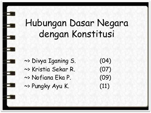 Hubungan Dasar Negara dengan Konstitusi ~> Divya Iganing S. ~> Kristia Sekar R. ~> Nofiana Eka P. ~> Pungky Ayu K.  (04) (...