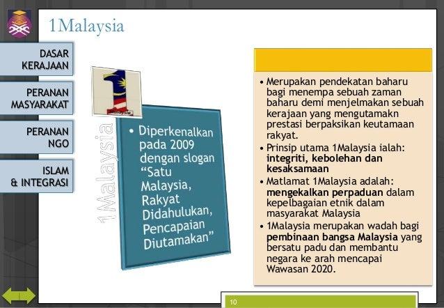 DASAR KERAJAAN PERANAN MASYARAKAT PERANAN NGO ISLAM & INTEGRASI 1Malaysia 10 • Merupakan pendekatan baharu bagi menempa se...