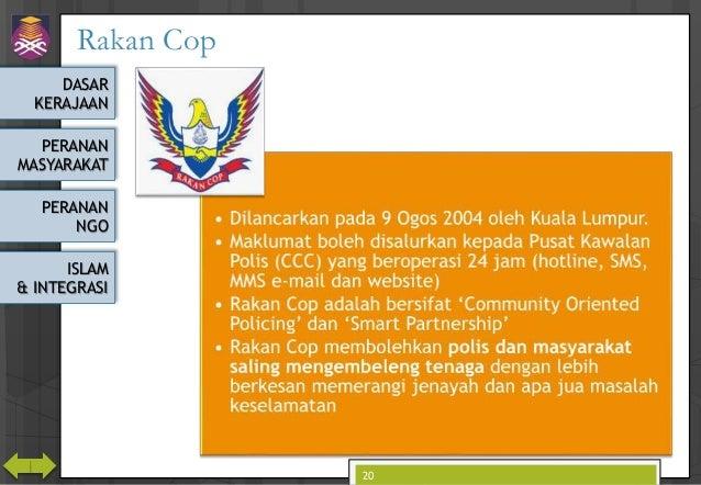 DASAR KERAJAAN PERANAN MASYARAKAT PERANAN NGO ISLAM & INTEGRASI Rakan Cop RakanCop 20