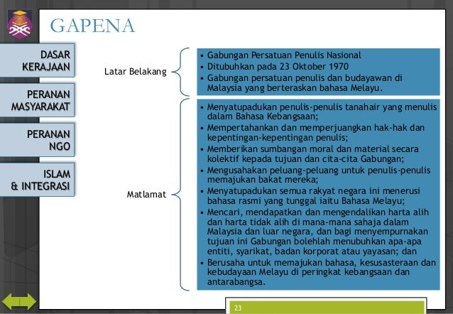 DASAR KERAJAAN PERANAN MASYARAKAT PERANAN NGO ISLAM & INTEGRASI GAPENA Latar Belakang • Gabungan Persatuan Penulis Nasiona...