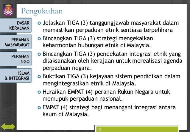 DASAR KERAJAAN PERANAN MASYARAKAT PERANAN NGO ISLAM & INTEGRASI Pengukuhan  Jelaskan TIGA (3) tanggungjawab masyarakat da...