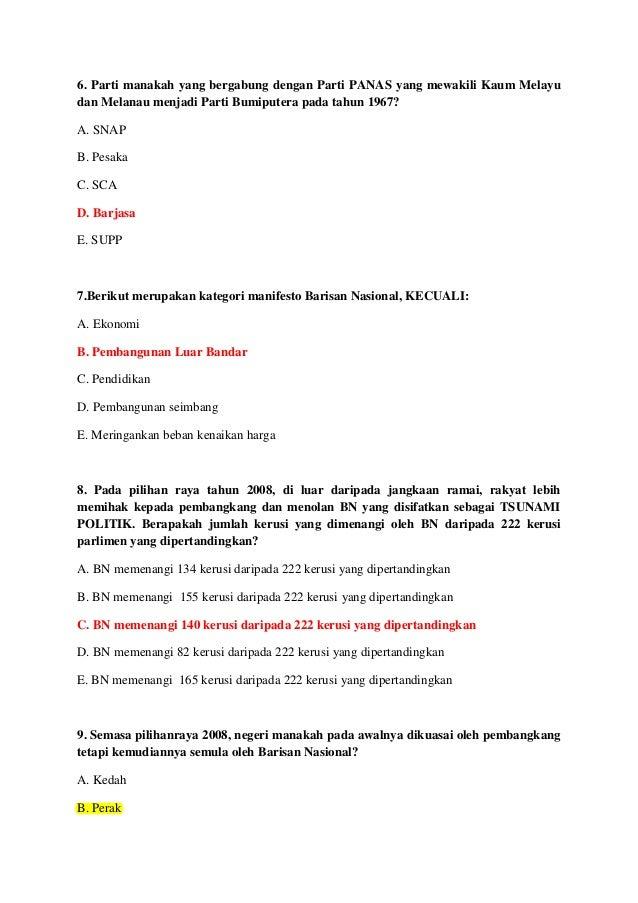 Soalan dan Jawapan - Hubungan Etnik (Kuiz/Past Year) 2