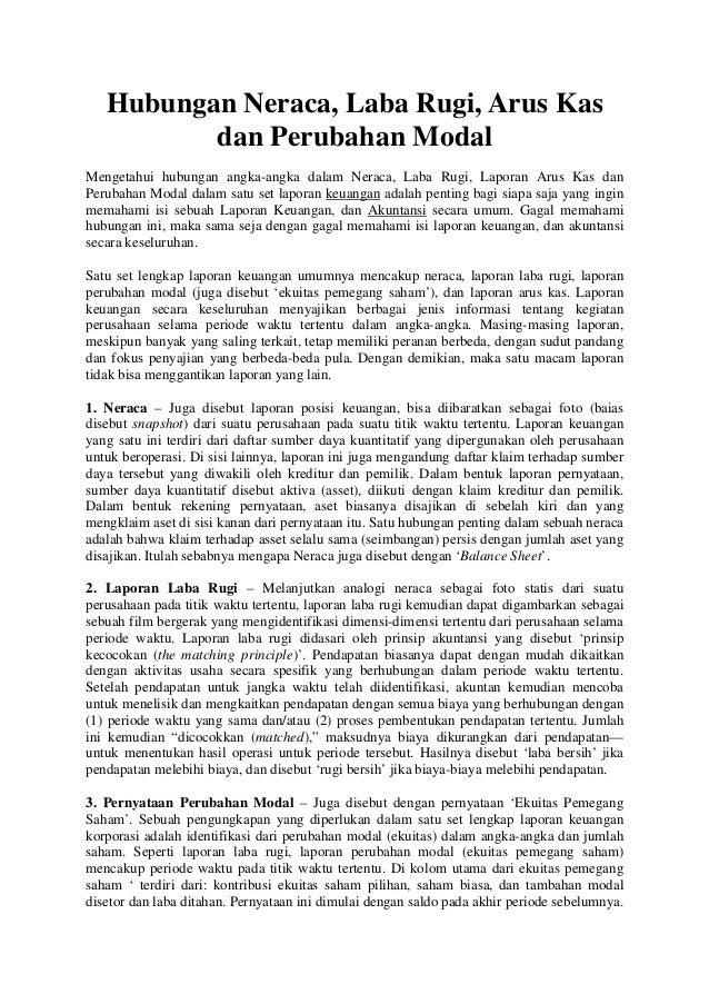Hubungan Neraca, Laba Rugi, Arus Kas          dan Perubahan ModalMengetahui hubungan angka-angka dalam Neraca, Laba Rugi, ...