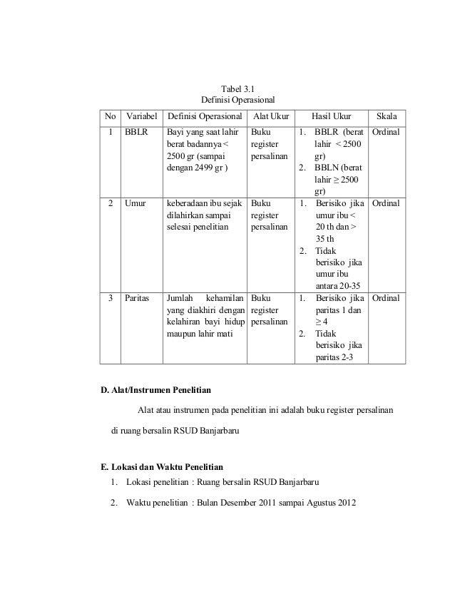 Contoh Tabel Definisi Operasional Variabel Dalam Skripsi Kumpulan Berbagai Skripsi