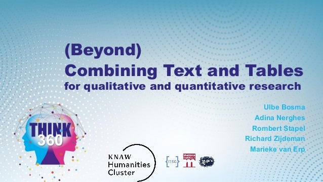 (Beyond) Combining Text and Tables for qualitative and quantitative research Ulbe Bosma Adina Nerghes Rombert Stapel Richa...