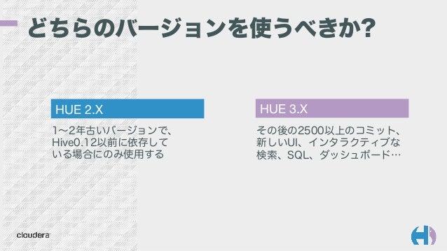 どちらのバージョンを使うべきか? その後の2500以上のコミット、 新しいUI、インタラクティブな 検索、SQL、ダッシュボード… 1∼2年古いバージョンで、 Hive0.12以前に依存して いる場合にのみ使用する HUE 2.X  HUE 3...