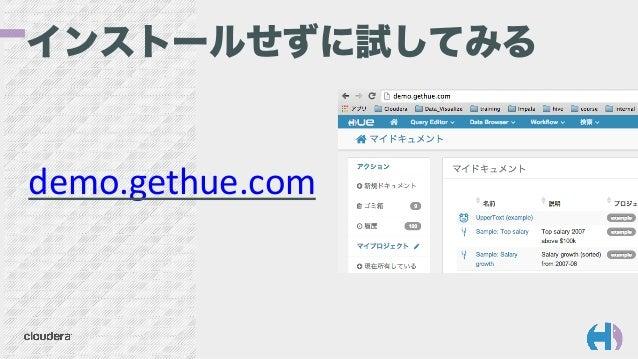 インストールせずに試してみる demo.gethue.com